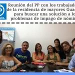 Los Concejales del Partido Popular, Elena Ballesteros, MariCarmen R. Hornillo y Jose Manuel Villanueva, en reunión de trabajo con los trabajadores de la Residencia de Mayores Guadaíra