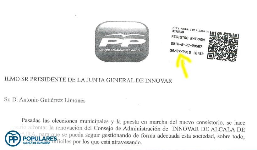 Registro de Entrada del escrito presentado en el Ayuntamiento en Julio de 2015