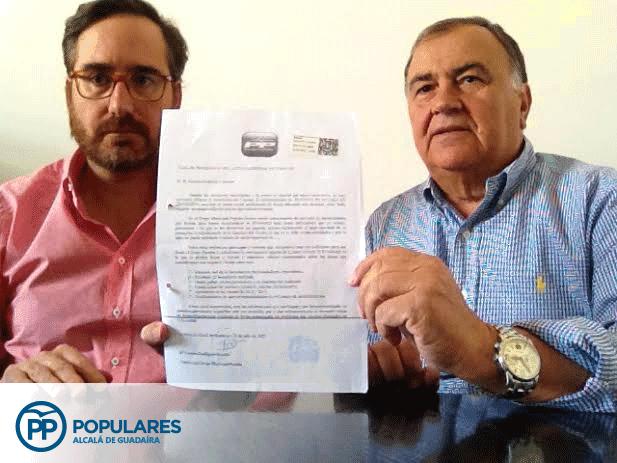 """Escrito presentado el 30 de Julio por el PP de Alcalá, en el que se le pedía """"de nuevo"""" al PSOE soluciones a los """"varios temas de Innovar"""", siendo el más urgente el salario de los trabajadores."""