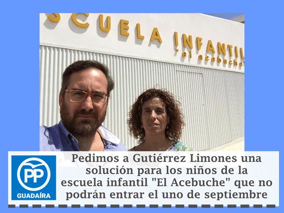 """PP pide a Gutiérrez Limones una solución para los niños de la escuela infantil """"El Acebuche"""" que no podrán entrar el 1 de Septiembre"""