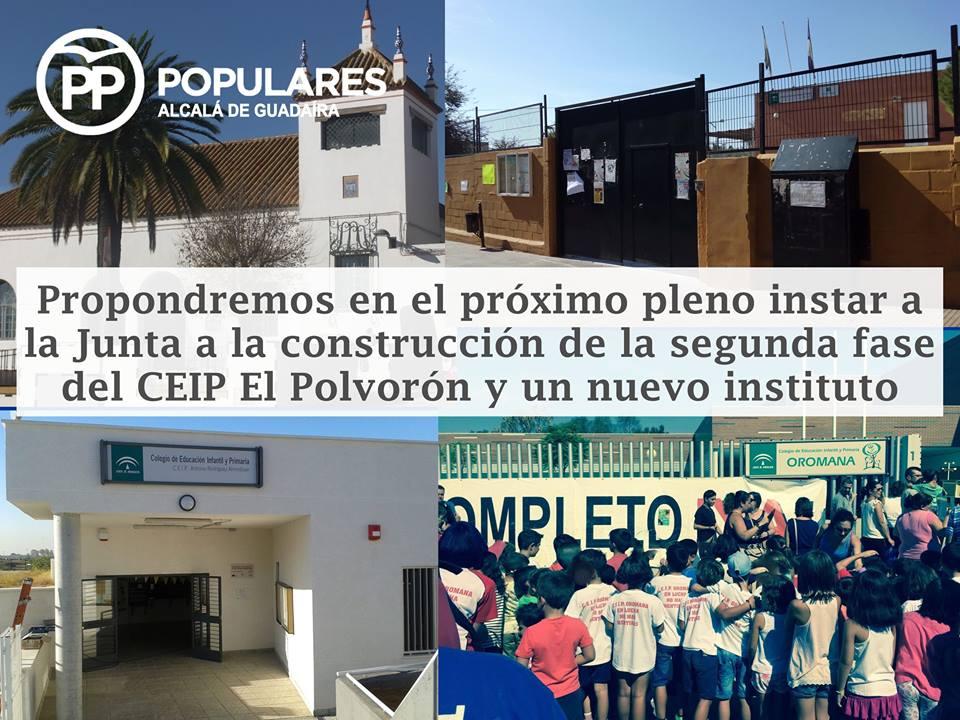 PP propondrá en el próximo pleno instar a la Junta a la construcción de la segunda fase del CEIP El Polvorón y un nuevo instituto