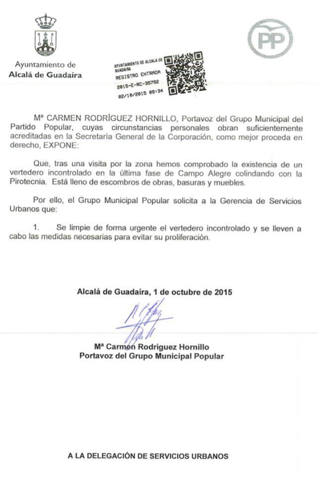 Presentado escrito sobre el vertedero incontrolado en Campo Alegre y Pirotecnia