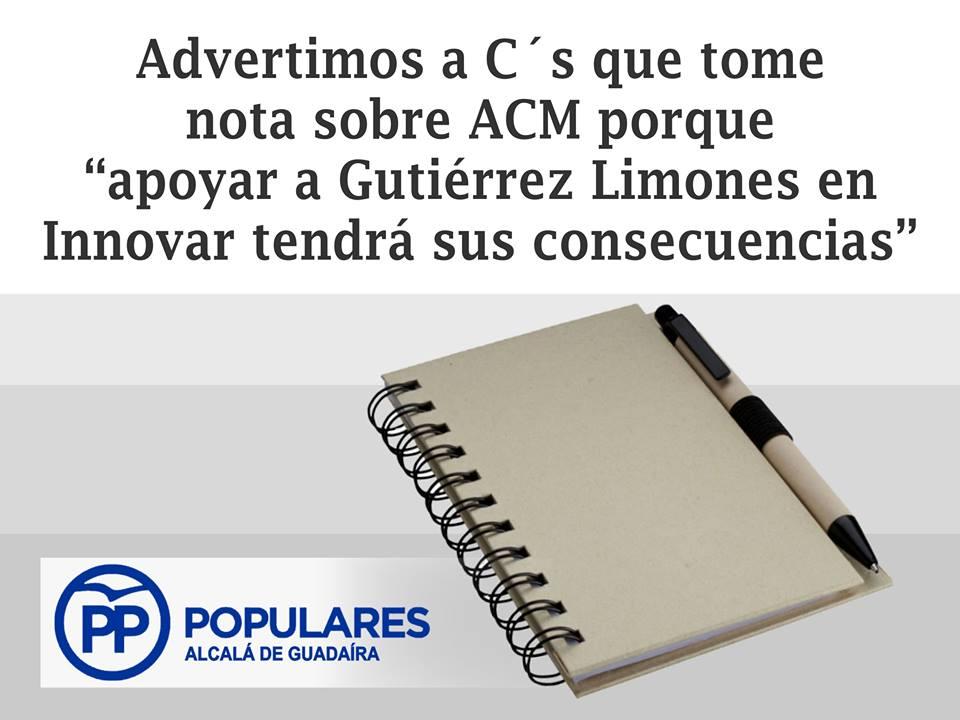 Advertimos a C's que tome nota de ACM: Apoyar al PSOE con Innovar tendrá sus consecuencias
