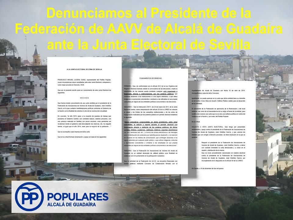 Denuncia ante la Junta Electoral, en base a la carta remitida por la Federación de AAVV de Alcalá