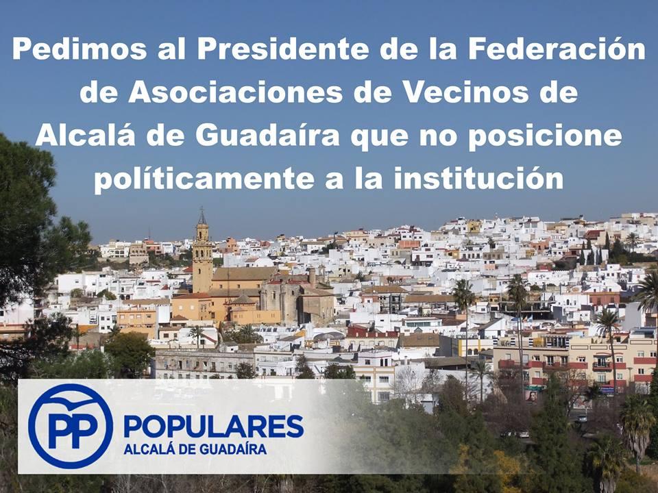 Pedimos la no politización de la Federación de AAVV de Alcalá por su Presidente
