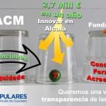 Una sociedad liquidada y transferidas sus funciones y personal a otra. La Fundación en quiebra con una deuda estimada de 2 millones de €. La sociedad restante recibiendo dinero muy por encima de lo planificado.