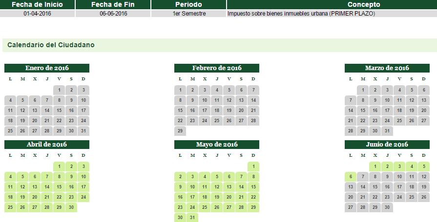 Calendario de pago del 1er Semestre del IBI (Impuesto sobre Bienes Inmuebles) 2016