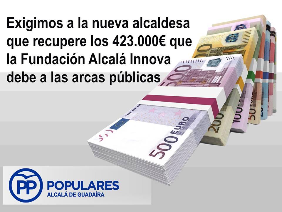Exigimos a la Alcaldesa que recupere los 423.000 € que la Fundación debe a los alcalareños