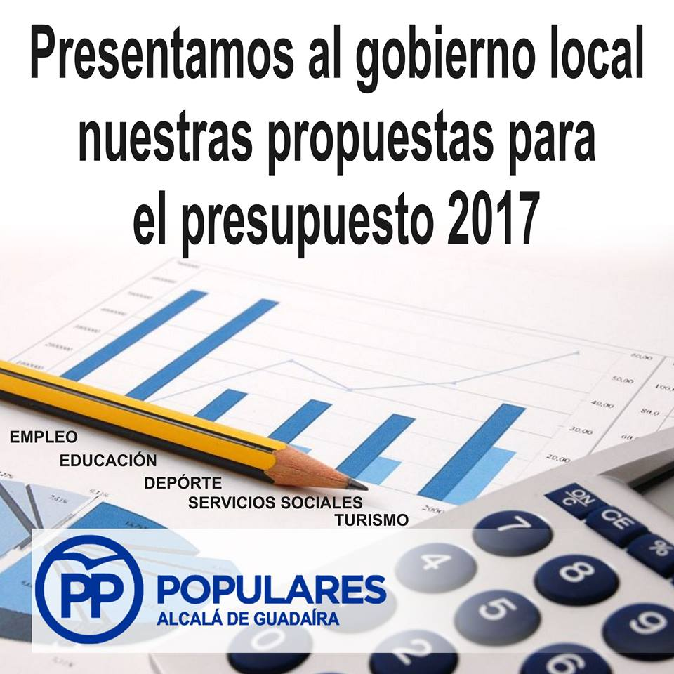 Presentadas nuestras mejoras para el presupuesto de 2017 del Ayuntamiento