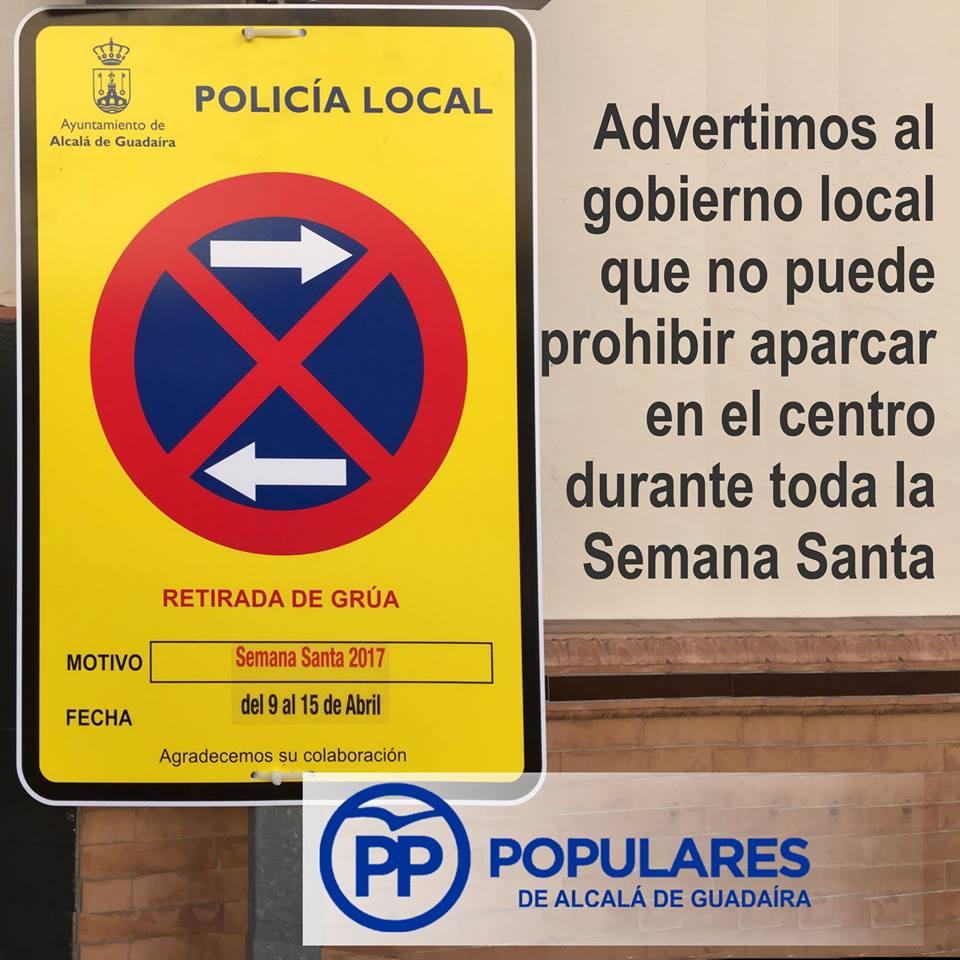 Es un error innecesario prohibir aparcar durante toda la Semana Santa en el Centro de Alcalá