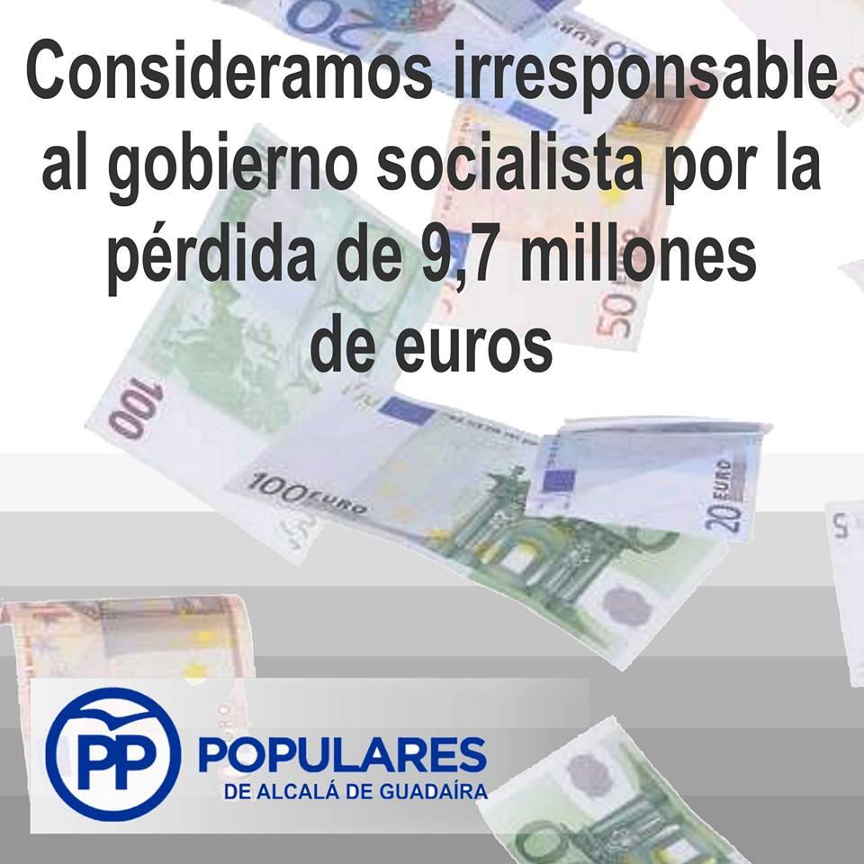 Se pierden 9,7 Millones de Euros por incapacidad del PSOE en Alcalá