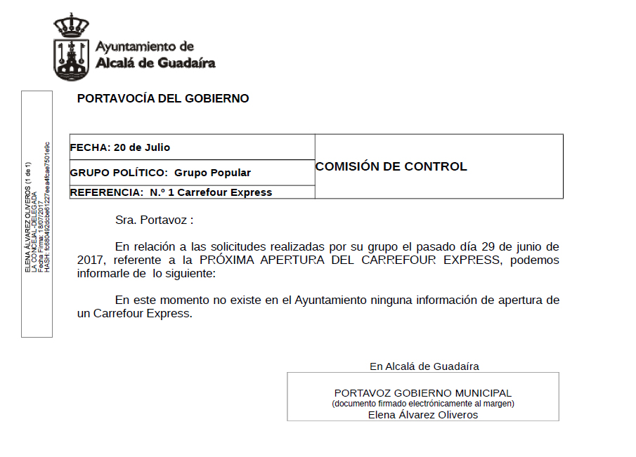 En el Ayuntamiento nada se sabe del «Carrefour Express» de Beca, en Alcalá de Guadaíra