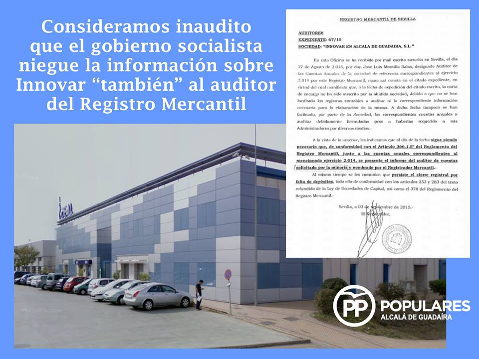 El Registro Mercantil también reclama a Innovar información que lleva tiempo reclamando el PP