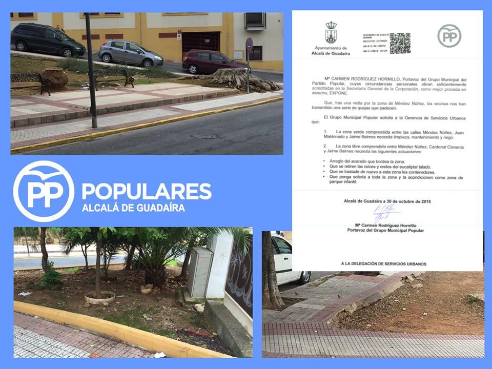 Presentado escrito de arreglo para zona verde comprendida entre Mendez Nuñez, Juan Mandonado y Jaime Balmes