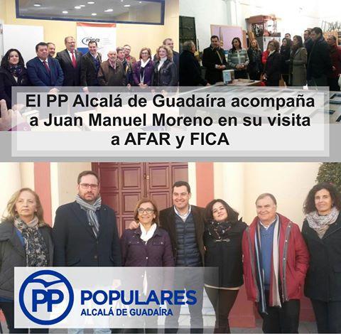 Juanma Moreno en Alcalá visita AFAR y FICA para conocer apoyar sus iniciativas