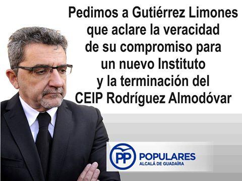 Pedimos que G. Limones aclare lo que dijo sobre el «CEIP Rodríguez Almodovar» y un nuevo Instituto
