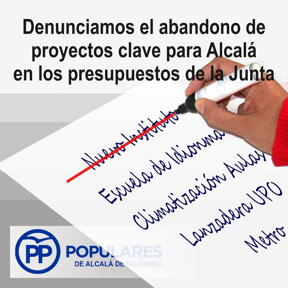 La Junta y el PSOE no priorizan Alcalá de forma efectiva